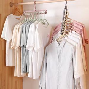9-hole Clothes hanger organizer Space Saving Hanger Multi-Function Folding Magic Hanger Drying Racks Scarf Clothes Storage Space Saver