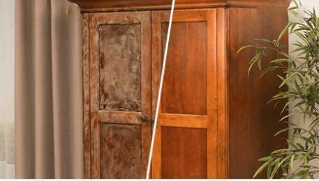 HeliSummer -- Wood Seasoning Beeswax Wood Wardrobe Before After